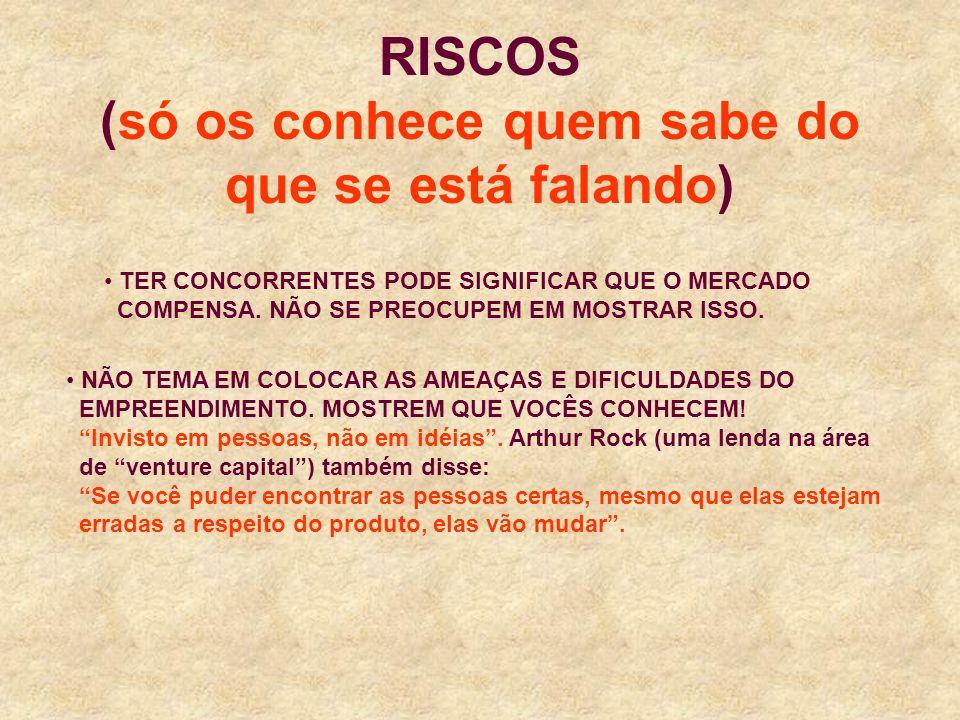 RISCOS (só os conhece quem sabe do que se está falando) NÃO TEMA EM COLOCAR AS AMEAÇAS E DIFICULDADES DO EMPREENDIMENTO.