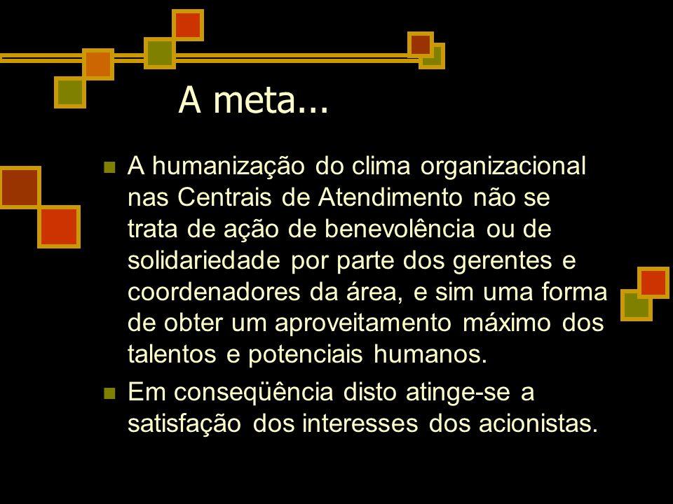 A humanização do clima organizacional nas Centrais de Atendimento não se trata de ação de benevolência ou de solidariedade por parte dos gerentes e co