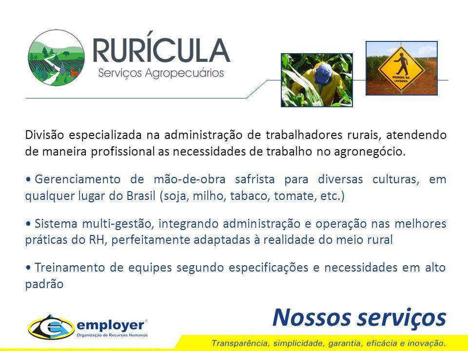Divisão especializada na administração de trabalhadores rurais, atendendo de maneira profissional as necessidades de trabalho no agronegócio. Gerencia