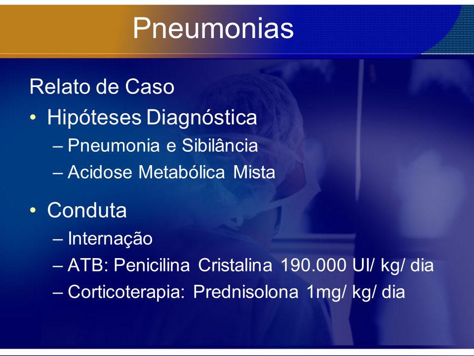Pneumonias Relato de Caso Hipóteses Diagnóstica –Pneumonia e Sibilância –Acidose Metabólica Mista Conduta –Internação –ATB: Penicilina Cristalina 190.000 UI/ kg/ dia –Corticoterapia: Prednisolona 1mg/ kg/ dia