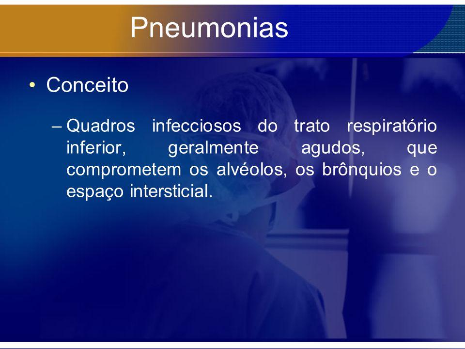 Pneumonias Conceito –Quadros infecciosos do trato respiratório inferior, geralmente agudos, que comprometem os alvéolos, os brônquios e o espaço intersticial.