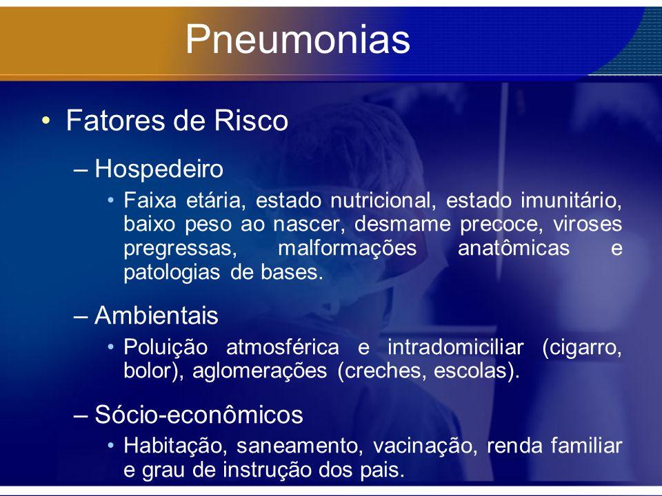 Pneumonias Fatores de Risco –Hospedeiro Faixa etária, estado nutricional, estado imunitário, baixo peso ao nascer, desmame precoce, viroses pregressas