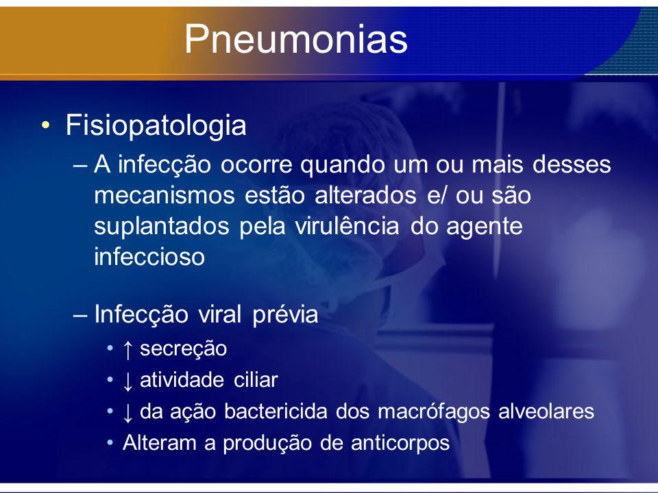 Pneumonias Fisiopatologia –A infecção ocorre quando um ou mais desses mecanismos estão alterados e/ ou são suplantados pela virulência do agente infeccioso –Infecção viral prévia secreção atividade ciliar da ação bactericida dos macrófagos alveolares Alteram a produção de anticorpos