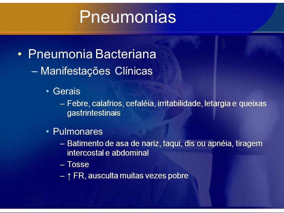 Pneumonias Pneumonia Bacteriana –Manifestações Clínicas Gerais –Febre, calafrios, cefaléia, irritabilidade, letargia e queixas gastrintestinais Pulmon