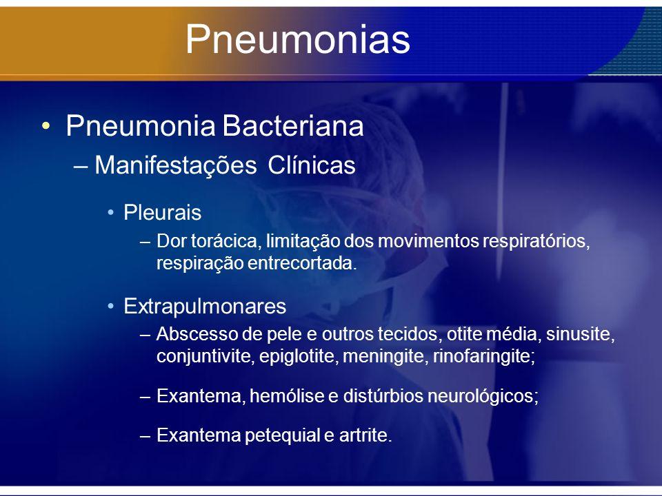 Pneumonias Pneumonia Bacteriana –Manifestações Clínicas Pleurais –Dor torácica, limitação dos movimentos respiratórios, respiração entrecortada. Extra