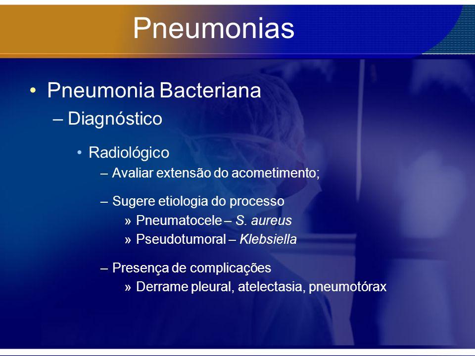 Pneumonias Pneumonia Bacteriana –Diagnóstico Radiológico –Avaliar extensão do acometimento; –Sugere etiologia do processo »Pneumatocele – S. aureus »P
