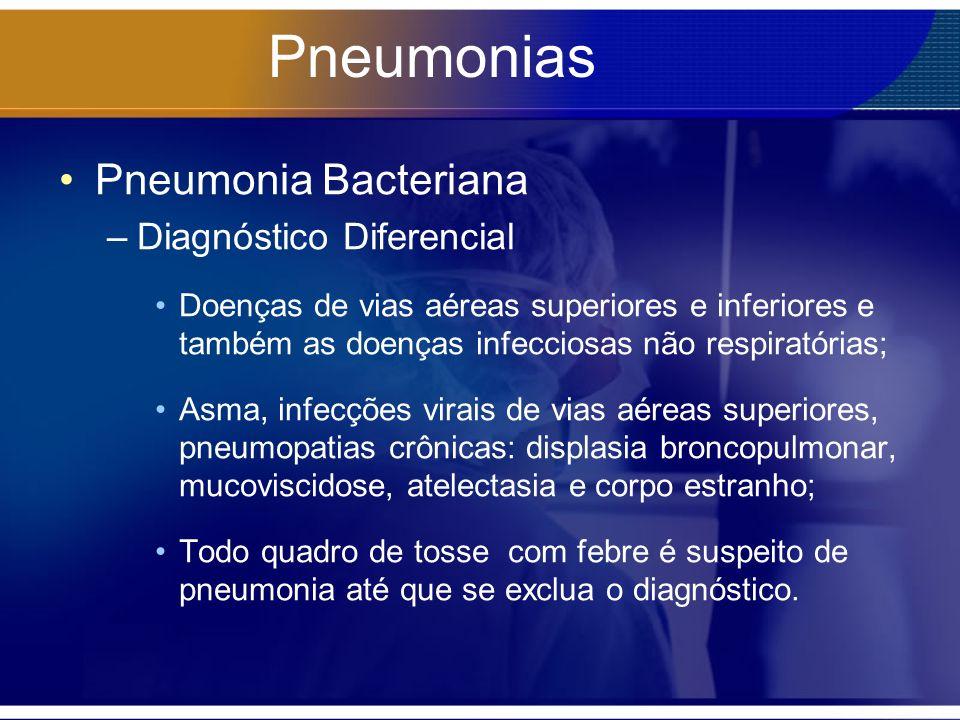 Pneumonias Pneumonia Bacteriana –Diagnóstico Diferencial Doenças de vias aéreas superiores e inferiores e também as doenças infecciosas não respiratór