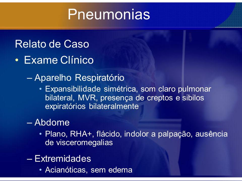 Pneumonias Relato de Caso Exame Clínico –Aparelho Respiratório Expansibilidade simétrica, som claro pulmonar bilateral, MVR, presença de creptos e sib
