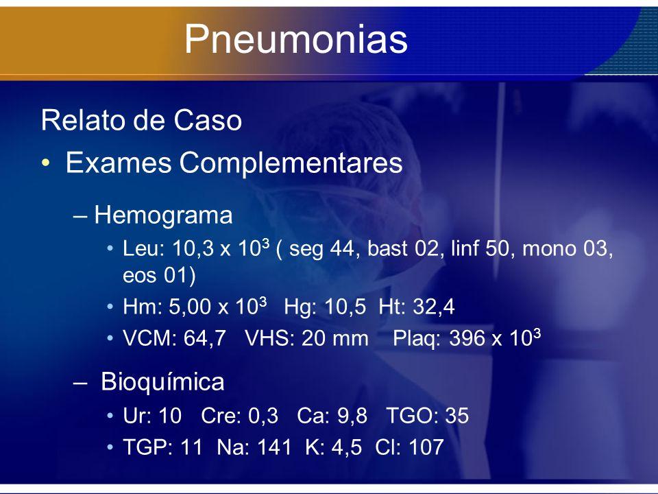 Pneumonias Relato de Caso Exames Complementares –Hemograma Leu: 10,3 x 10 3 ( seg 44, bast 02, linf 50, mono 03, eos 01) Hm: 5,00 x 10 3 Hg: 10,5 Ht: 32,4 VCM: 64,7 VHS: 20 mm Plaq: 396 x 10 3 – Bioquímica Ur: 10 Cre: 0,3 Ca: 9,8 TGO: 35 TGP: 11 Na: 141 K: 4,5 Cl: 107