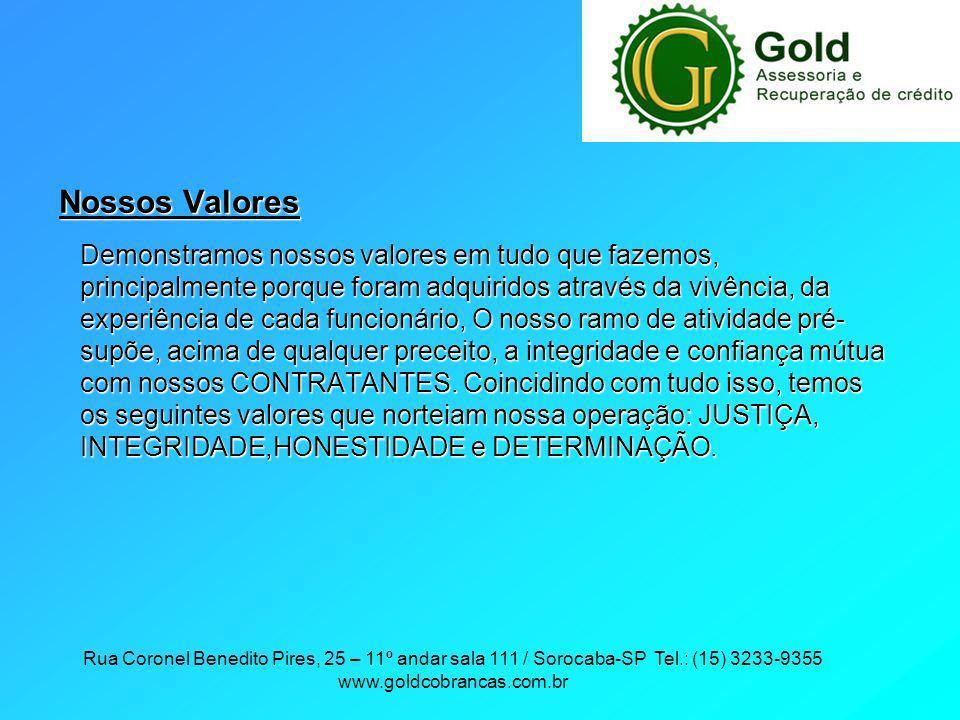 Rua Coronel Benedito Pires, 25 – 11º andar sala 111 / Sorocaba-SP Tel.: (15) 3233-9355 www.goldcobrancas.com.br Nossos Valores Demonstramos nossos val