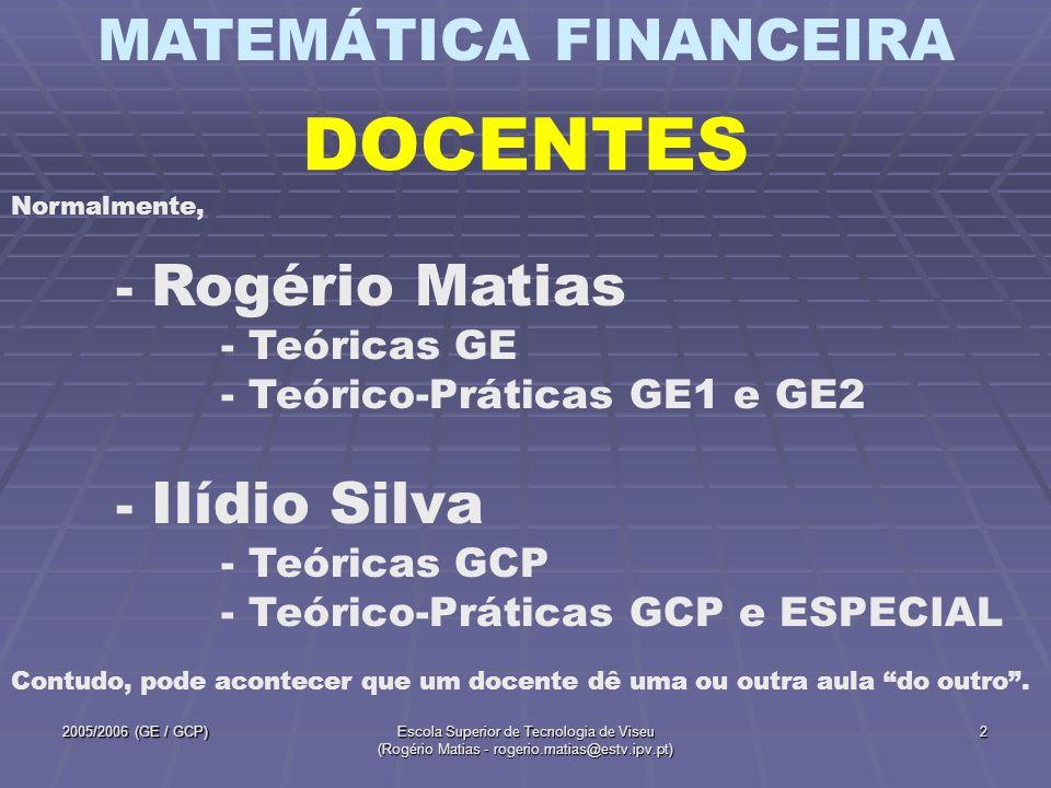 MATEMÁTICA FINANCEIRA 2005/2006 (GE / GCP)Escola Superior de Tecnologia de Viseu (Rogério Matias - rogerio.matias@estv.ipv.pt) 2 DOCENTES Normalmente,