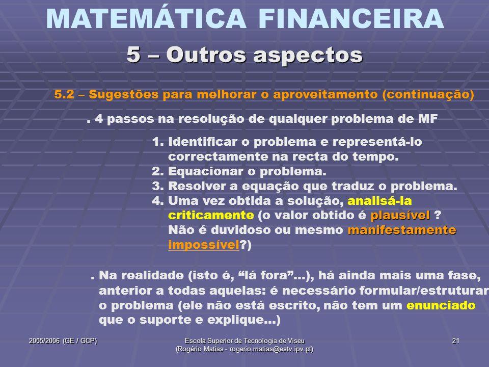 MATEMÁTICA FINANCEIRA 2005/2006 (GE / GCP)Escola Superior de Tecnologia de Viseu (Rogério Matias - rogerio.matias@estv.ipv.pt) 21. 4 passos na resoluç