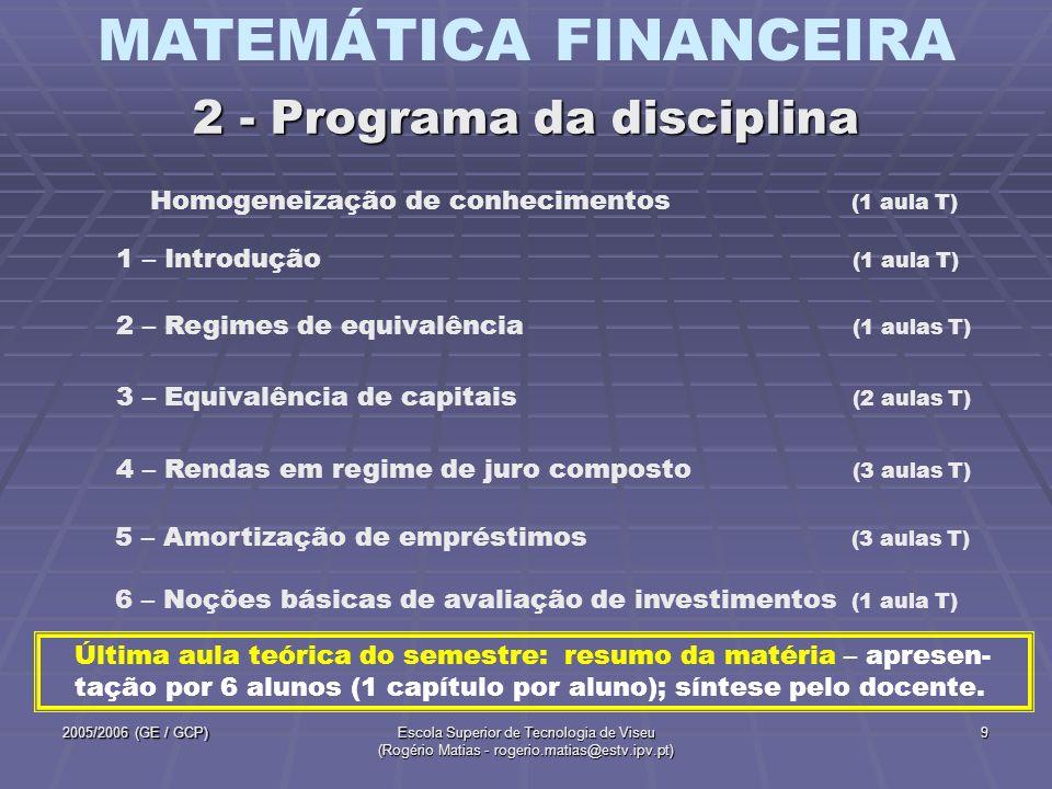 MATEMÁTICA FINANCEIRA 2005/2006 (GE / GCP)Escola Superior de Tecnologia de Viseu (Rogério Matias - rogerio.matias@estv.ipv.pt) 9 2 – Regimes de equiva