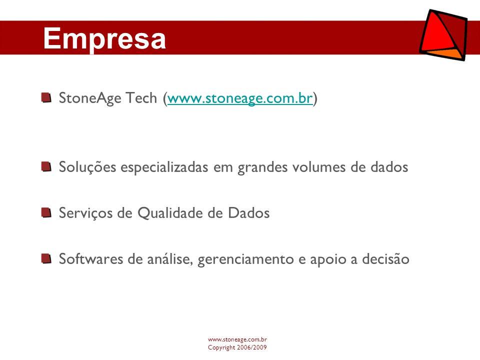 Tecnologia www.stoneage.com.br Copyright 2006/2009 Negócio -cliente -cartão -transação Relacional -CPF chave -UF chave -visões agregadas -granularidade Modelagem Oracle, SqlServereXtreme DB