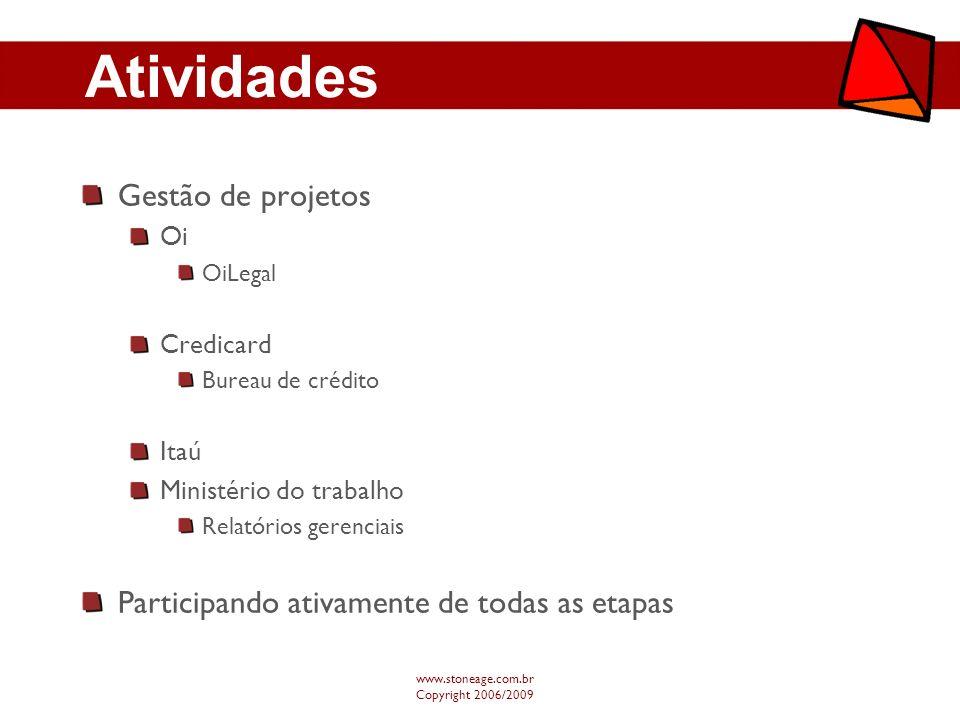 Atividades Gestão de projetos Oi OiLegal Credicard Bureau de crédito Itaú Ministério do trabalho Relatórios gerenciais Participando ativamente de toda