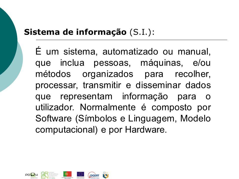 É um sistema, automatizado ou manual, que inclua pessoas, máquinas, e/ou métodos organizados para recolher, processar, transmitir e disseminar dados que representam informação para o utilizador.