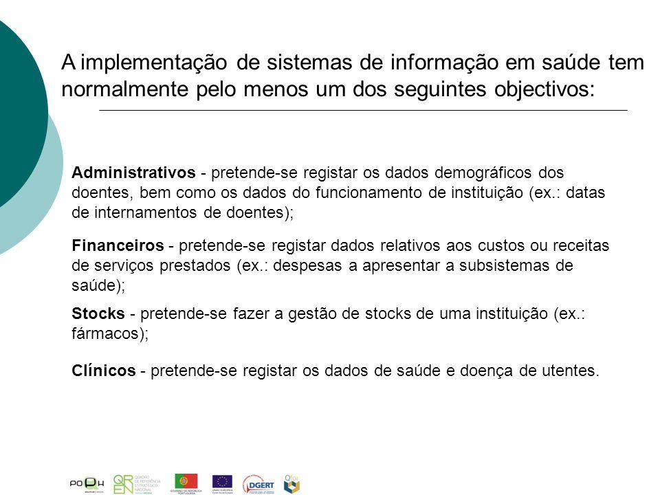 A implementação de sistemas de informação em saúde tem normalmente pelo menos um dos seguintes objectivos: Financeiros - pretende-se registar dados re