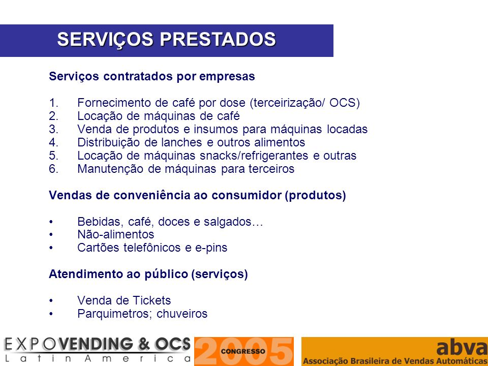 ASSOCIAÇÃO BRASILEIRA DE VENDAS AUTOMÁTICAS Serviços contratados por empresas 1.Fornecimento de café por dose (terceirização/ OCS) 2.Locação de máquin