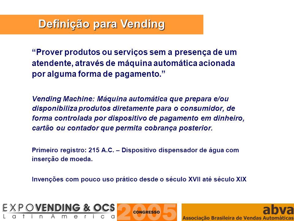 ASSOCIAÇÃO BRASILEIRA DE VENDAS AUTOMÁTICAS Prover produtos ou serviços sem a presença de um atendente, através de máquina automática acionada por alg