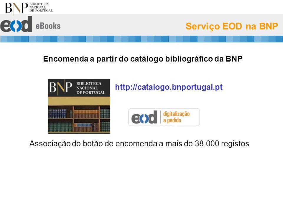 Serviço EOD na BNP Encomenda a partir do catálogo bibliográfico da BNP http://catalogo.bnportugal.pt Associação do botão de encomenda a mais de 38.000 registos