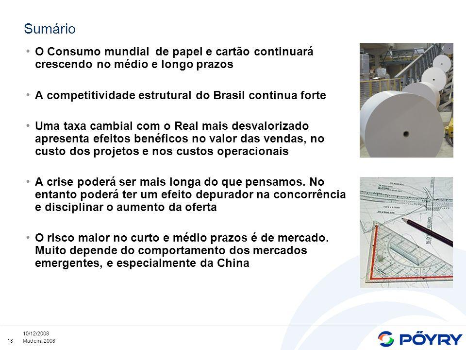 18 10/12/2008 Madeira 2008 Sumário O Consumo mundial de papel e cartão continuará crescendo no médio e longo prazos A competitividade estrutural do Br