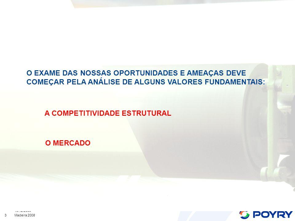 3 10/12/2008 Madeira 2008 O EXAME DAS NOSSAS OPORTUNIDADES E AMEAÇAS DEVE COMEÇAR PELA ANÁLISE DE ALGUNS VALORES FUNDAMENTAIS: A COMPETITIVIDADE ESTRUTURAL O MERCADO