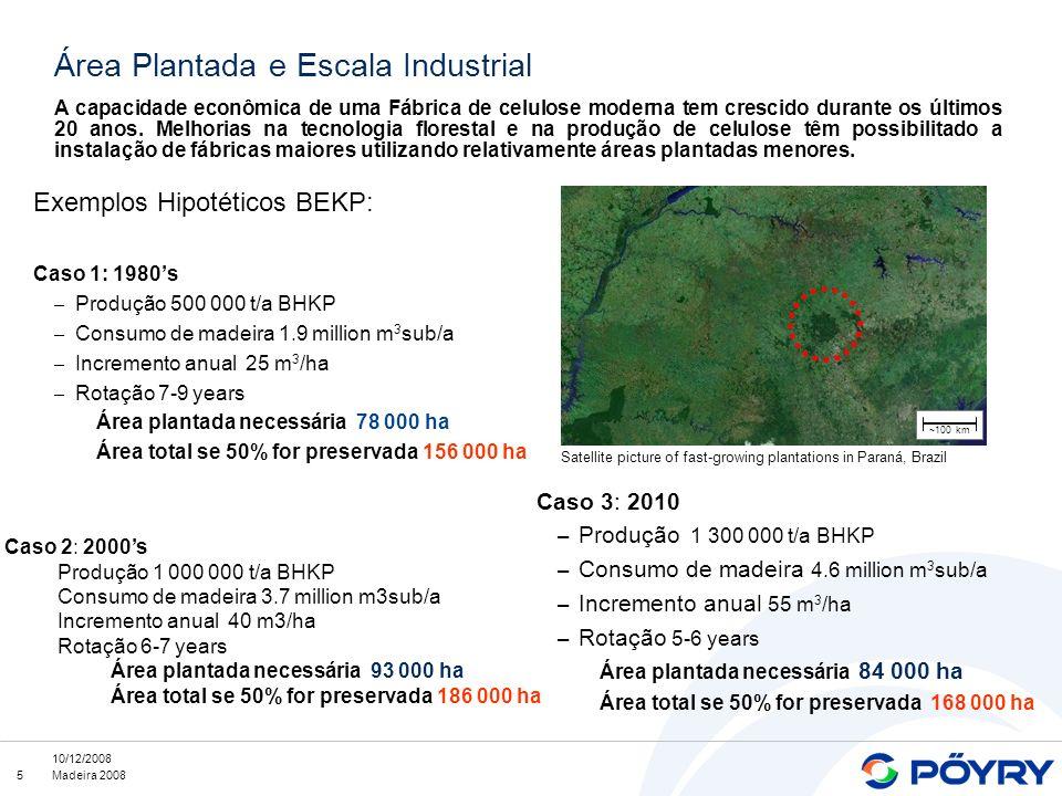 5 10/12/2008 Madeira 2008 Exemplos Hipotéticos BEKP: Caso 1: 1980s – Produção 500 000 t/a BHKP – Consumo de madeira 1.9 million m 3 sub/a – Incremento anual 25 m 3 /ha – Rotação 7-9 years Área plantada necessária 78 000 ha Área total se 50% for preservada 156 000 ha r A capacidade econômica de uma Fábrica de celulose moderna tem crescido durante os últimos 20 anos.