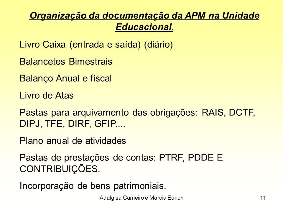 Adalgisa Carneiro e Márcia Eurich11 Organização da documentação da APM na Unidade Educacional. Livro Caixa (entrada e saída) (diário) Balancetes Bimes