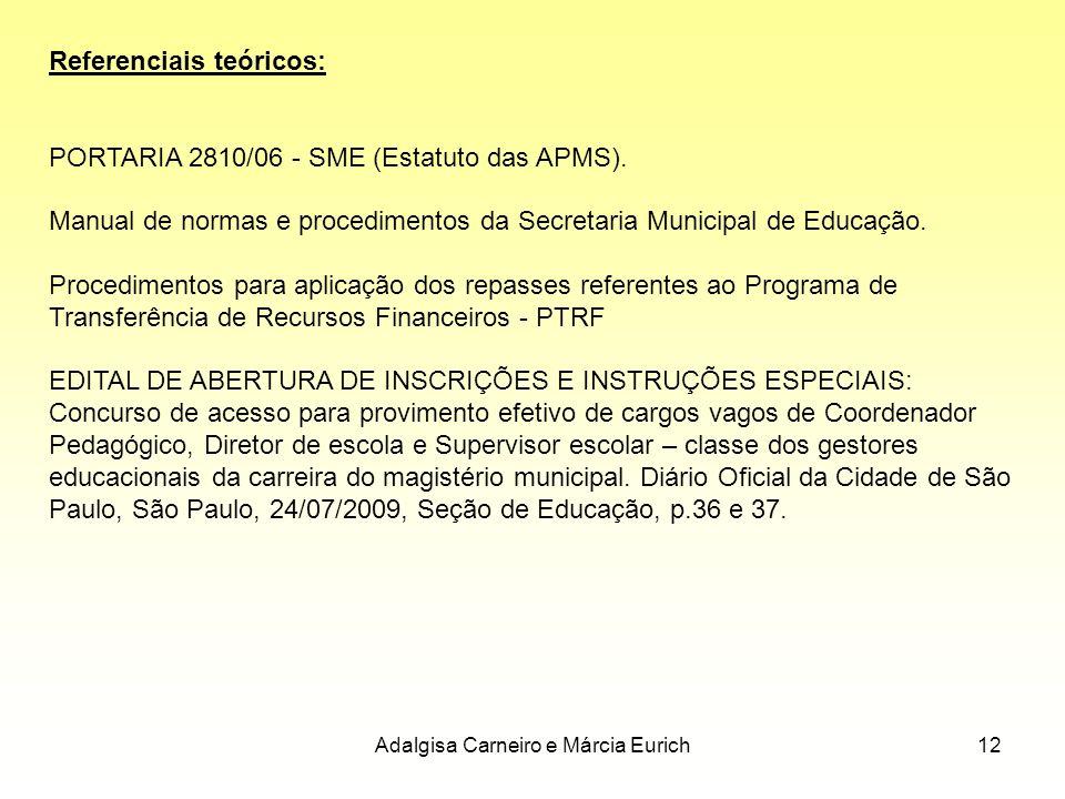 Adalgisa Carneiro e Márcia Eurich12 Referenciais teóricos: PORTARIA 2810/06 - SME (Estatuto das APMS). Manual de normas e procedimentos da Secretaria