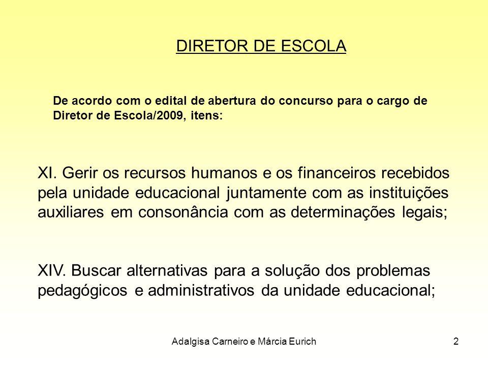 2 De acordo com o edital de abertura do concurso para o cargo de Diretor de Escola/2009, itens: XI. Gerir os recursos humanos e os financeiros recebid
