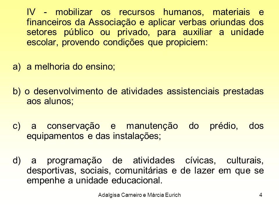 Adalgisa Carneiro e Márcia Eurich4 IV - mobilizar os recursos humanos, materiais e financeiros da Associação e aplicar verbas oriundas dos setores púb
