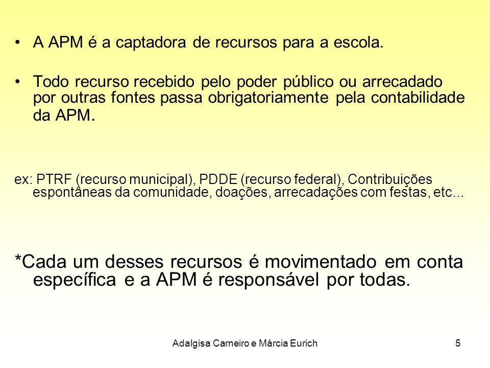 Adalgisa Carneiro e Márcia Eurich5 A APM é a captadora de recursos para a escola. Todo recurso recebido pelo poder público ou arrecadado por outras fo
