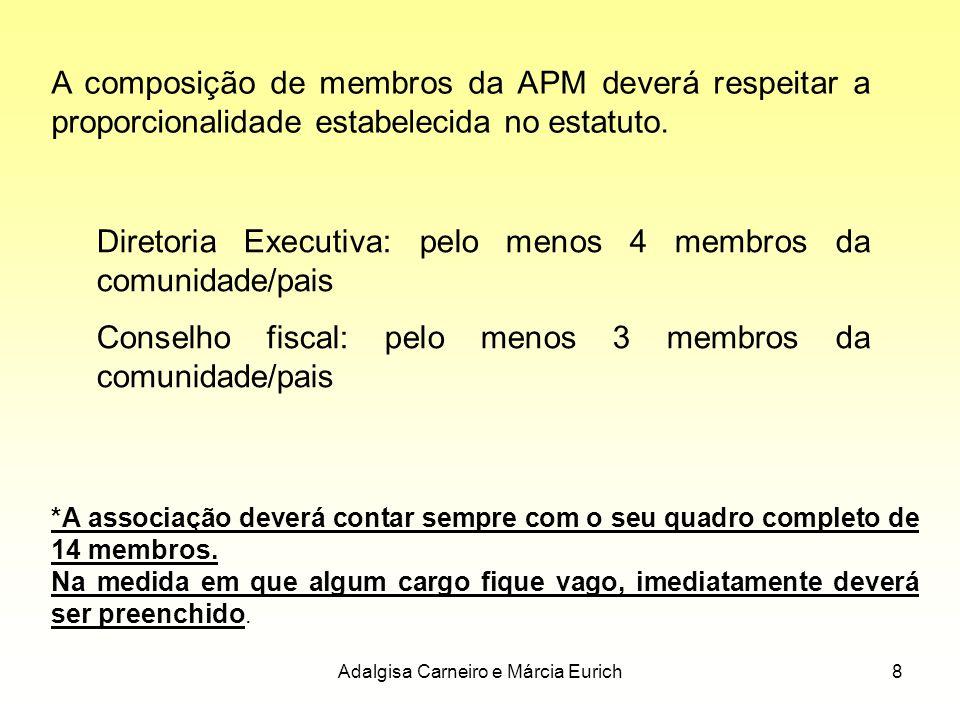 Adalgisa Carneiro e Márcia Eurich8 A composição de membros da APM deverá respeitar a proporcionalidade estabelecida no estatuto. Diretoria Executiva: