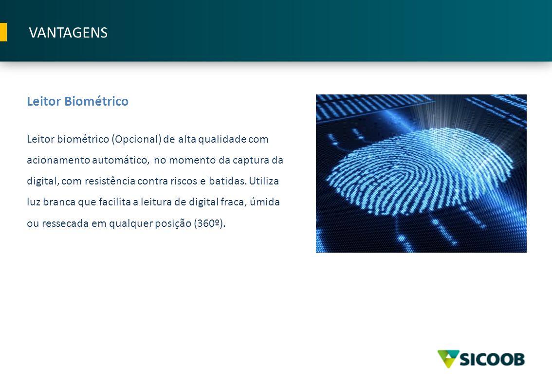 Leitor Biométrico Leitor biométrico (Opcional) de alta qualidade com acionamento automático, no momento da captura da digital, com resistência contra