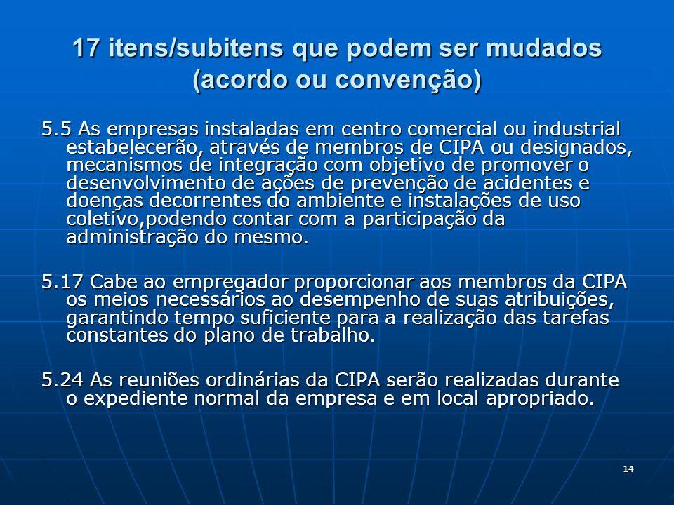 14 17 itens/subitens que podem ser mudados (acordo ou convenção) 5.5 As empresas instaladas em centro comercial ou industrial estabelecerão, através d
