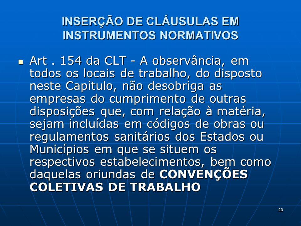 20 INSERÇÃO DE CLÁUSULAS EM INSTRUMENTOS NORMATIVOS Art. 154 da CLT - A observância, em todos os locais de trabalho, do disposto neste Capitulo, não d