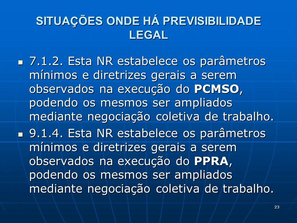 23 SITUAÇÕES ONDE HÁ PREVISIBILIDADE LEGAL 7.1.2. Esta NR estabelece os parâmetros mínimos e diretrizes gerais a serem observados na execução do PCMSO