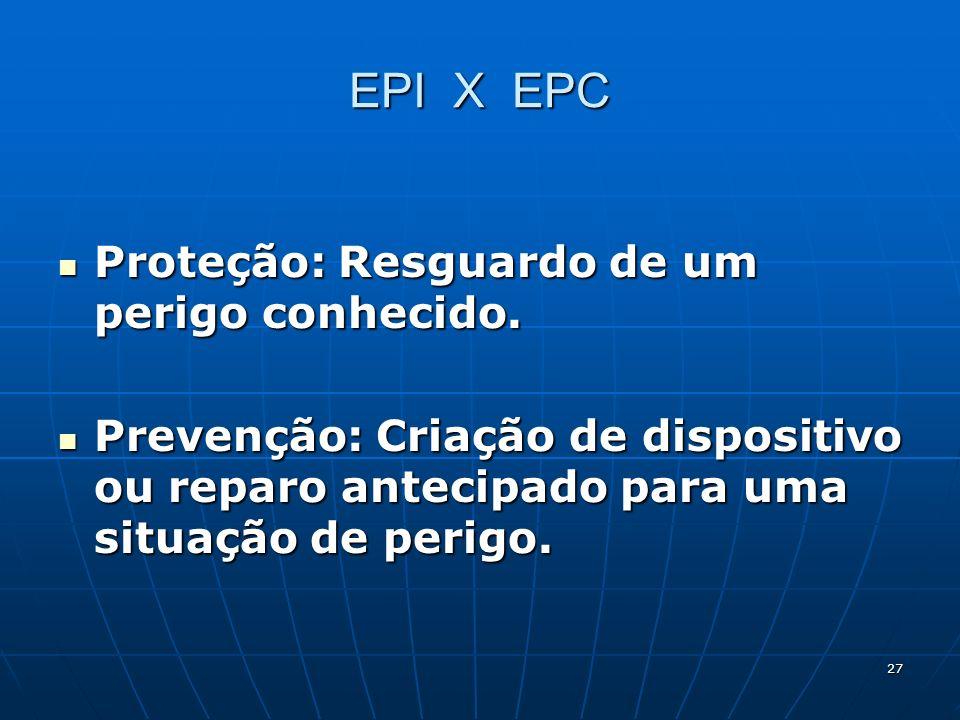 27 EPI X EPC Proteção: Resguardo de um perigo conhecido. Proteção: Resguardo de um perigo conhecido. Prevenção: Criação de dispositivo ou reparo antec
