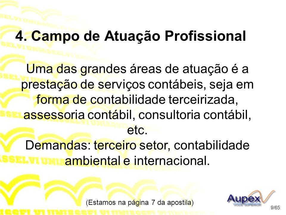 4. Campo de Atuação Profissional Uma das grandes áreas de atuação é a prestação de serviços contábeis, seja em forma de contabilidade terceirizada, as