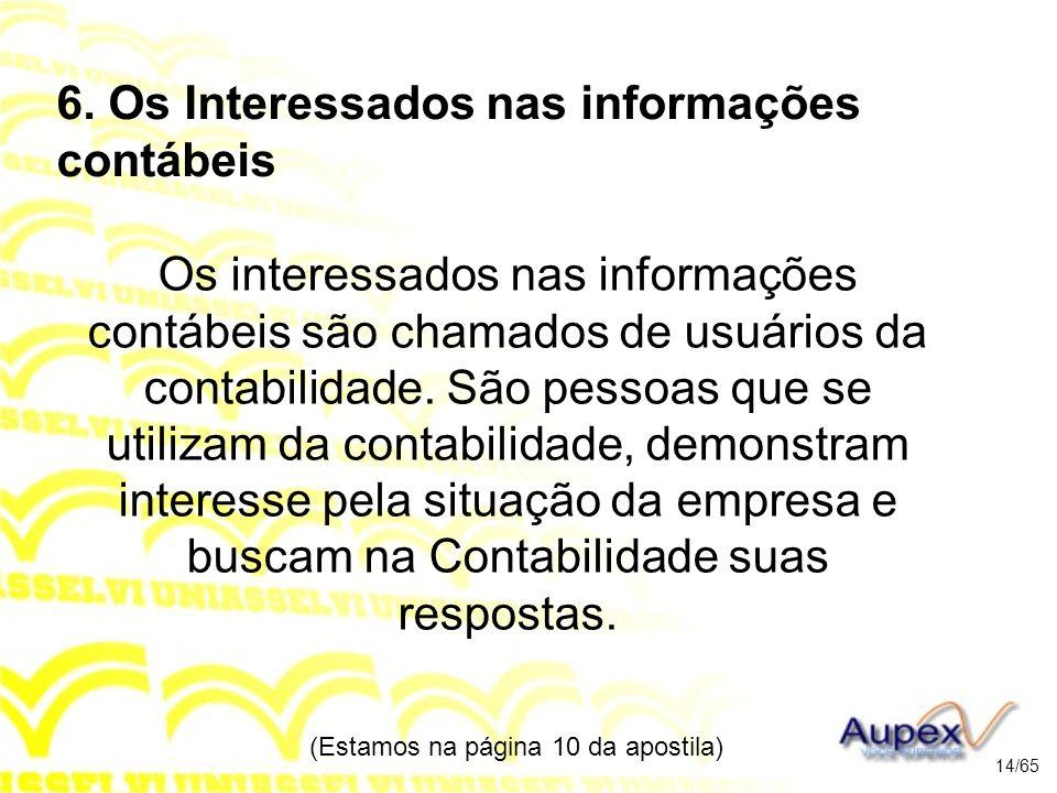 6. Os Interessados nas informações contábeis Os interessados nas informações contábeis são chamados de usuários da contabilidade. São pessoas que se u