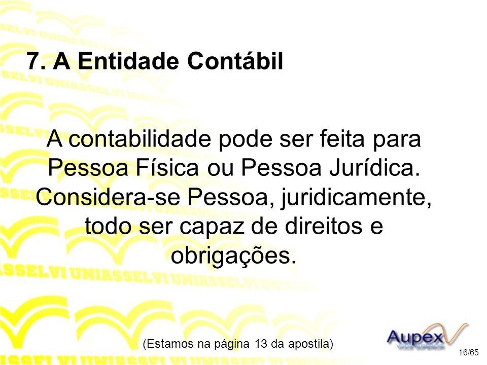 7.A Entidade Contábil A contabilidade pode ser feita para Pessoa Física ou Pessoa Jurídica.
