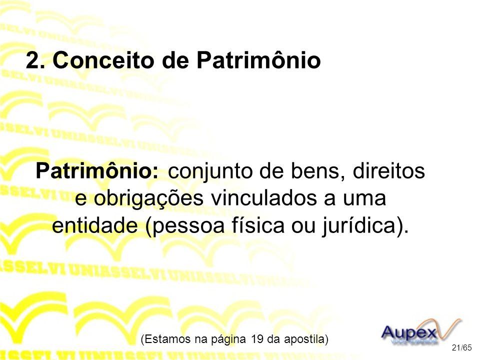 2. Conceito de Patrimônio Patrimônio: conjunto de bens, direitos e obrigações vinculados a uma entidade (pessoa física ou jurídica). (Estamos na págin