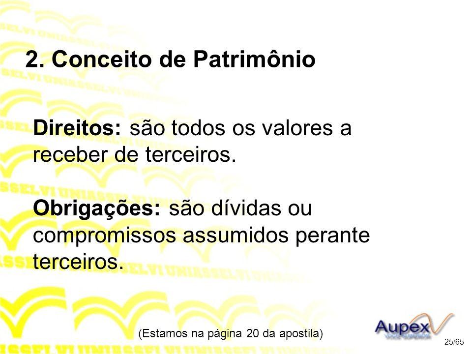 2.Conceito de Patrimônio Direitos: são todos os valores a receber de terceiros.