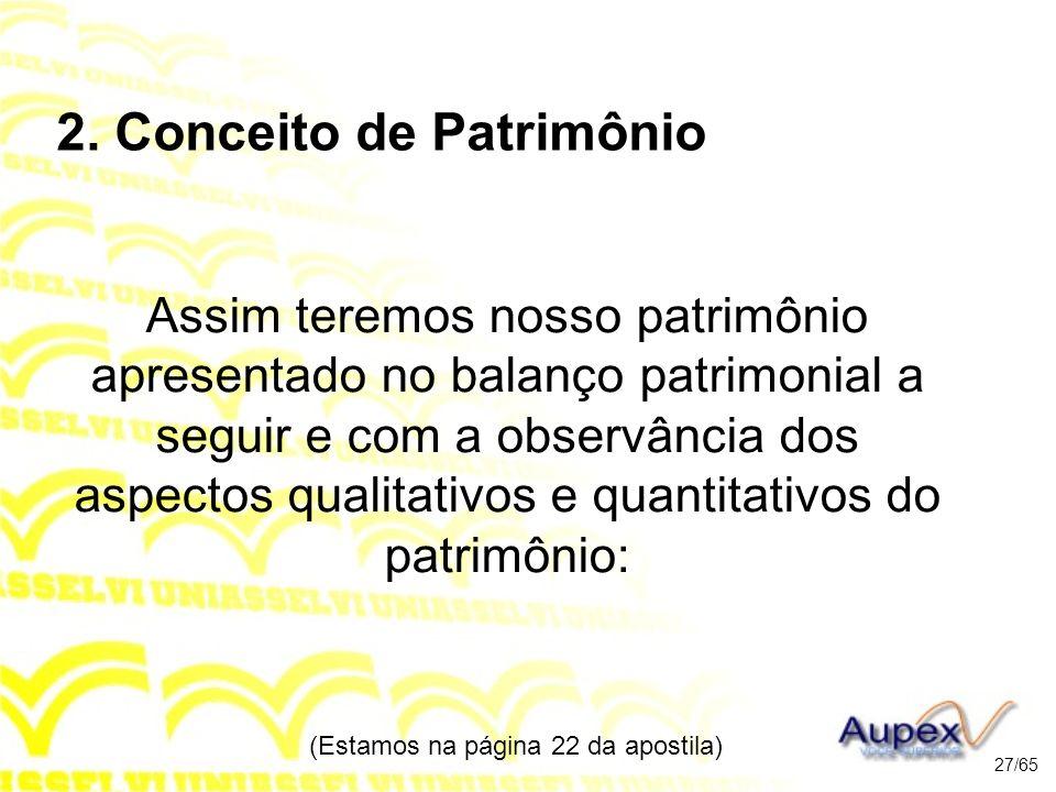 2. Conceito de Patrimônio Assim teremos nosso patrimônio apresentado no balanço patrimonial a seguir e com a observância dos aspectos qualitativos e q