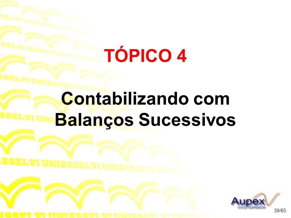 TÓPICO 4 Contabilizando com Balanços Sucessivos 39/65