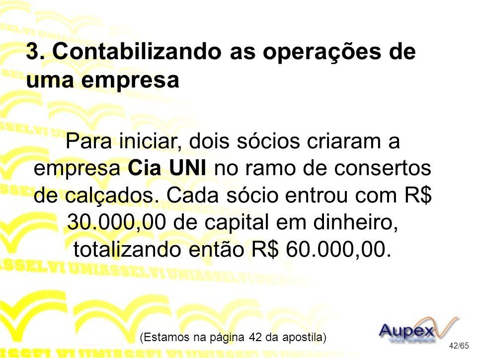 3. Contabilizando as operações de uma empresa Para iniciar, dois sócios criaram a empresa Cia UNI no ramo de consertos de calçados. Cada sócio entrou