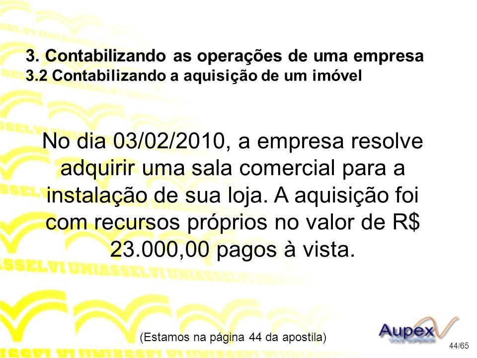 No dia 03/02/2010, a empresa resolve adquirir uma sala comercial para a instalação de sua loja.