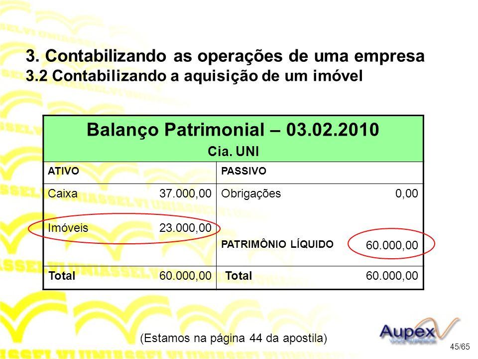 (Estamos na página 44 da apostila) 45/65 Balanço Patrimonial – 03.02.2010 Cia.