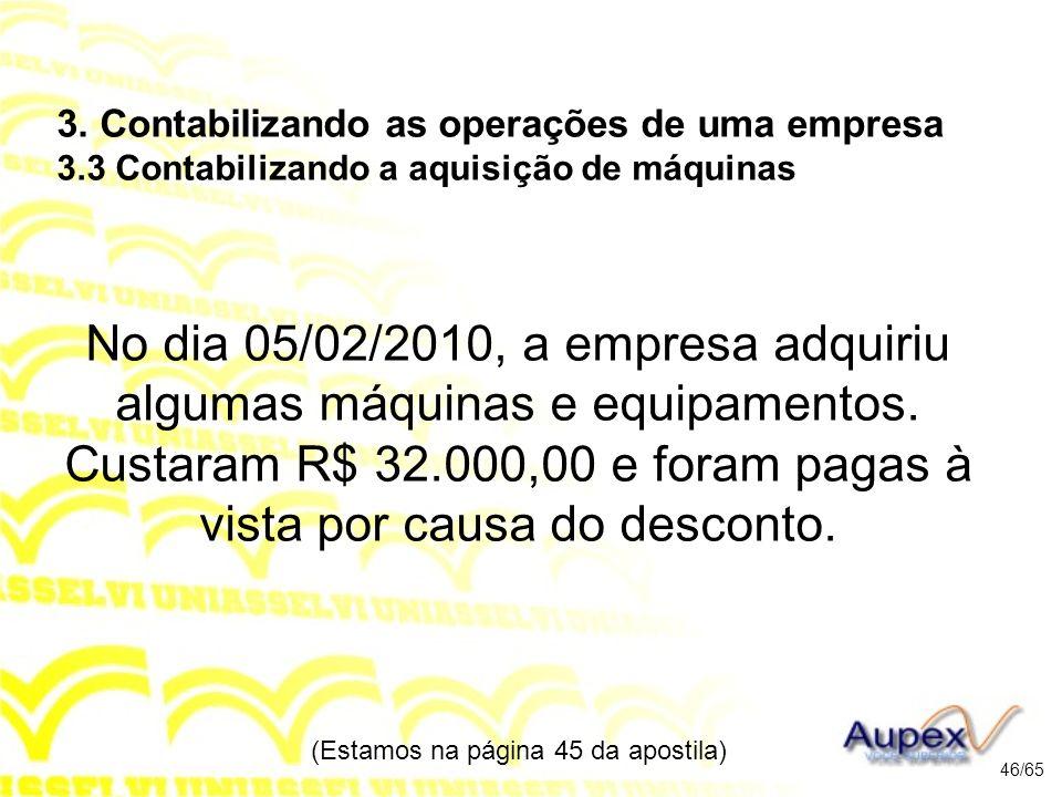 No dia 05/02/2010, a empresa adquiriu algumas máquinas e equipamentos.