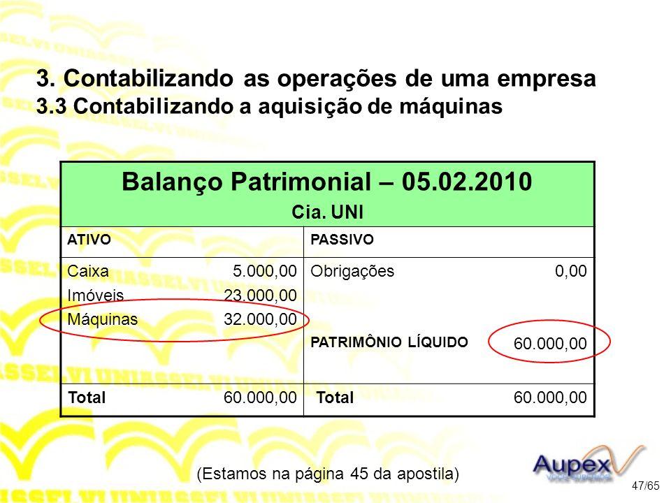 (Estamos na página 45 da apostila) 47/65 Balanço Patrimonial – 05.02.2010 Cia.